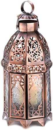 Gifts & Decor COPPERY Moroccan Lantern, 13366, Brown, 4 inches in Diameter x 9.5 inches