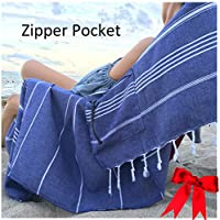 Luxury Turkish Beach Towel with Zipper Pocket 100% Natural Cotton - Sand Free Lightweight Quick Dry | Hand Face Fouta Gift | Multipurpose Poolside Sunbed Couch Throw PESHTEMAL Set 35x65 Inch (Navy1)