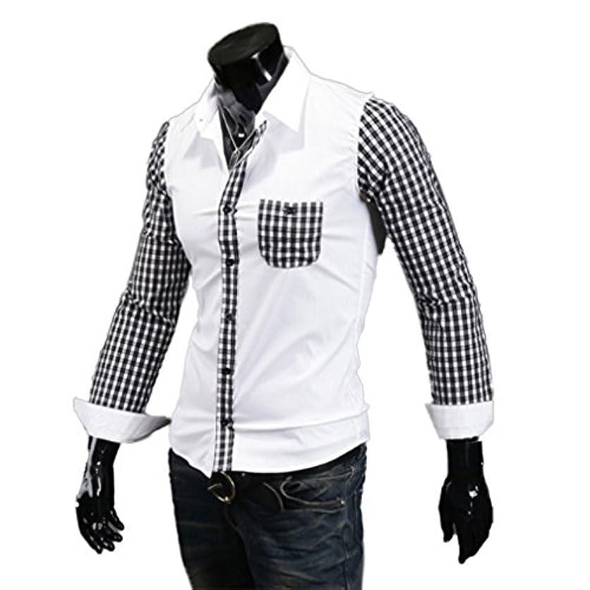 感じパーティション転用Honghu メンズ シャツ 長袖  裏地付き スリム カジュアル ホワイト L 1PC