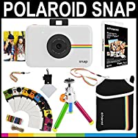 Polaroid Snap Instant Camera (White) + 2x3 Zink Paper (20 Pack) + Neoprene Pouch + Photo Frames + Accessory Bundle