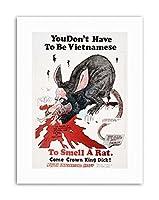 Protest Vietnam War Richard Nixon Rat Caricature Military Canvas Art Print