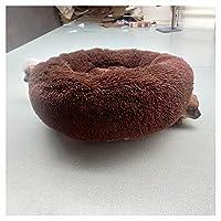 ドーナツ猫のベッドドッグベッドパッド、小さな中大型犬小屋のためのフェイクファーペットベッド-自己温暖化屋内ラウンド枕カドラークッション,ブラウン,60cm(24inch)
