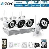 A-ZONE130万画素タイプ 960P 監視カメラ 防犯カメラワイヤレス(2000GB内蔵)4CH 防犯レコーダーCCTVセキュリティカメラ システム  QRコード 80フィート IR LED赤外線ナイトビジョン、プリインストール 1280TVL1.0メガピクセル IP67 全天候のWifi 防犯カメラキット (白い)