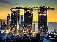 高建築夜DIYダイヤモンド絵画風景家の装飾モザイク刺繍クロスステッチ樹脂クラフトスクロール絵画 30x40cm