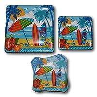 サーフボード夏ビーチハワイアンTropicalルアウペーパープレートとナプキンパーティー供給バンドル–ピクニックテーブルウェアセットIncludes–ビーチDinner Plates–Dessert Plates and Napkins