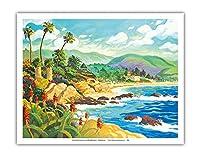 ラグナビーチとの愛 - カリフォルニア - シーサイドオーシャンビュー - オリジナルの水彩画からのもの によって作成された ロビン アルトマン - アートポスター - 28cm x 36cm