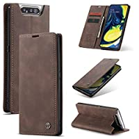 Multifunctional Bag Phone Case For Samsung Galaxy A80 Leaether Wallet Case, Slim Flit Folio kickstand Case with Built-in Magnetic Closure or Everyday Items and File Storage (Color : Coffee)