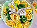 フレグランス シャボンフラワー ソープフラワー 薔薇 枯れない 花 ブーケ プレゼント 花束 母の日 父の日 出産祝い 結婚祝い お見舞い 誕生日 石鹸 香り ギフト お祝い ラッピング 包装 ギフトバック付き (イエロー)
