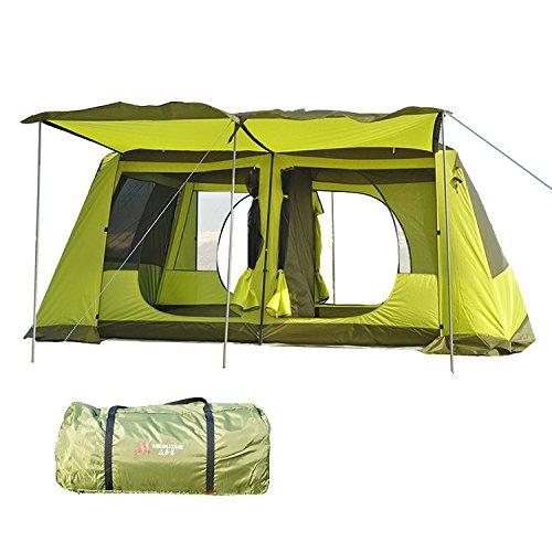 ツールームテント ライムグリーン 全2色 300cmx400cmx215cm 2ルーム UV50+ 防虫 通気性 耐水圧3000mm 収納袋付き [5-6人用] [8-12人用] [並行輸入品]