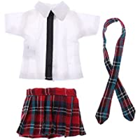 Dovewill かわいい 学生ユニフォーム衣装 チェック柄半袖シャツ ミニスカート 12インチブライスドール人形用