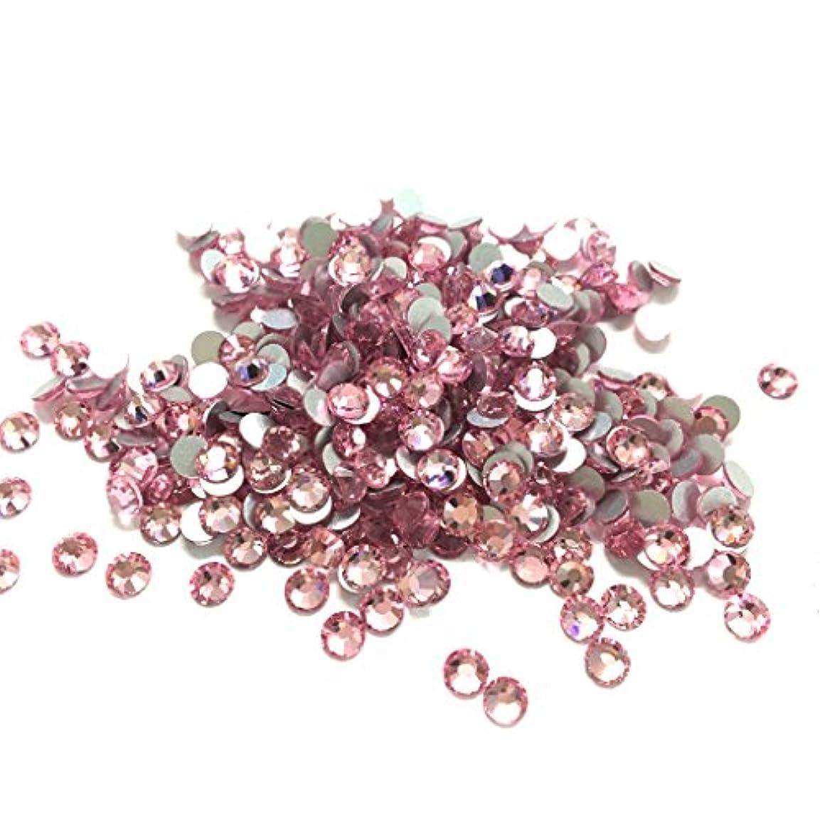 【ネイルウーマン】スワロ同等の輝き!最高品質ガラスストーン 薄ピンク ライトローズ ラインストーン 1440粒入り 10グロス 卸売 (SS16, ライトローズ(薄ピンク))