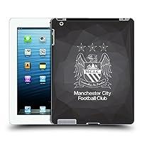 オフィシャルManchester City Man City FC ブラック・ジオメトリック アウトライン・ホワイト クレスト・ジオメトリック ハードバックケース Apple iPad 3 / iPad 4