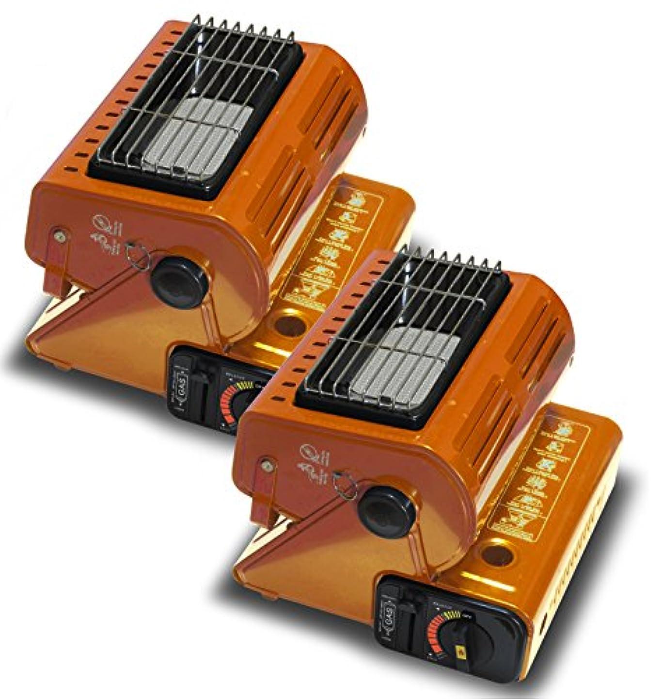 冷笑するワイプアッティカスSEIKOH カセットガスストーブ 2個セット A64NFSET2 オレンジ 小型 カセットボンベ式 電源不要 角度調節可能