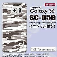 SC05G スマホケース Galaxy S6 カバー ギャラクシー S6 イニシャル 迷彩B グレーB nk-sc05g-1161ini R