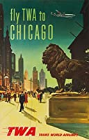 Twa–ChicagoビンテージポスターUSA C。1950 24 x 36 Signed Art Print LANT-63105-710