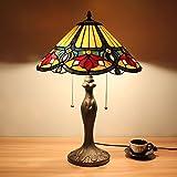 16インチヴィンテージラグジュアリーレッドマグノリアティファニースタイルのステンドグラスのテーブルランプのベッドサイドランプ