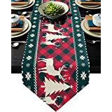 Christmas Tree Elk Deer Table Runners Red Holiday Buffalo Checkered Plaid Non-Slip Burlap Table Runner Cotton Linen Table Scarfs Setting Decor for Farmhouse Wedding Party Dinner Home, 13X70 Inch