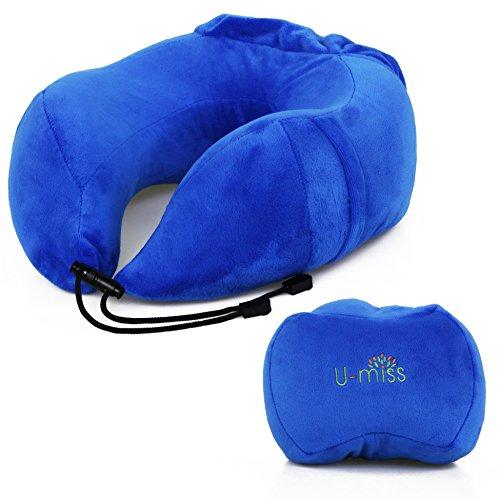 U-miss ネックピロー ネック枕 旅行 ドライブ枕 小さく収納 オフィスU字枕 うつ伏せ寝 ブルー 27*30*13cm