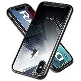 RANVOO iphone xs/x ケース 米軍MIL規格取得 放熱 耐衝撃 背面クリア クロームメッキバンパー 全面保護 滑り防止 Qi充電対応 (ブラック アップグレード 四隅保護)