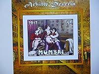 (画像3枚) ムンバイ切手 『ヌード画』(Achille Deveria) 小シート3枚セット 無目打F