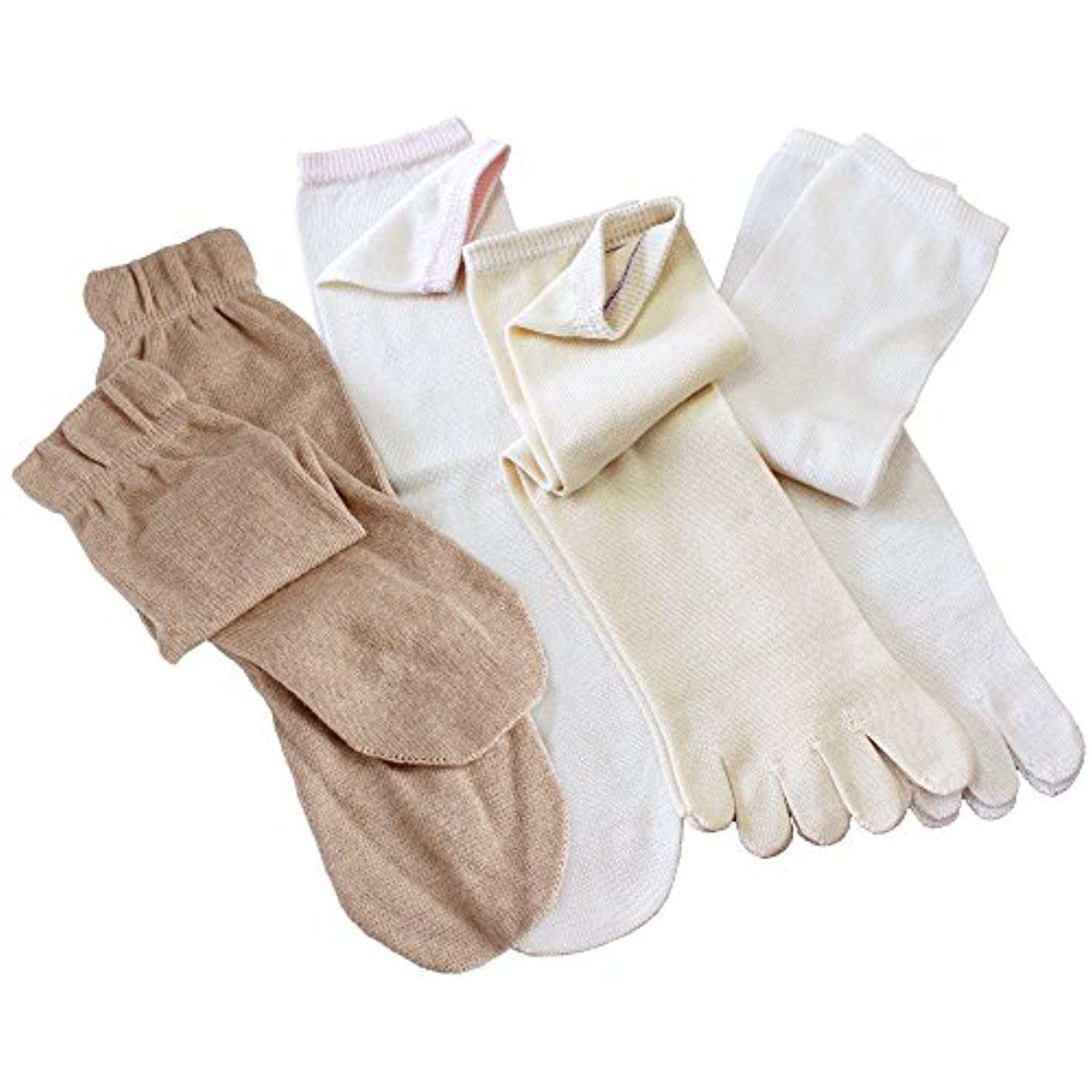 クラッシュ呪われたキャンディーhiorie(ヒオリエ) 日本製 冷えとり靴下 シルク&コットン 5本指ソックス(重ねばき専用 4足セット) 正絹 綿