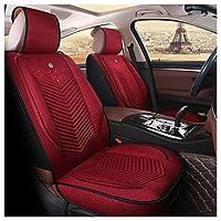 カーシートカバー、フロントとリア5ユニバーサル4シーズンパッドシート、エアバッグと互換性のある防水リネン (Color : Red)