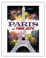 パリ、フランス - TWAジェッツフライ - トランス・ワールド航空 - エッフェル塔での花火 - ビンテージな航空会社のポスター によって作成された デイヴィッド・クライン c.1960s - キャンバスアート - 51cm x 66cm キャンバスアート(ロール)