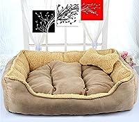 ZXPzZ 犬小屋ペットベッド中小犬用ベッド猫の家ペットパッド犬用品快適で柔らかい綿素材ウールマット四季ユニバーサル - Pet nest (色 : ベージュ, サイズ さいず : 50x40CM)