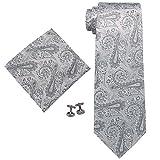Landisun 570 ペイズリー メンズ シルク ネクタイ セット:ネクタイ+ハンカチ+カフス シルバー グレー, 148x8.25cm