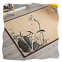 JIAJUAN ナチュラル ファイバ 日本人 伝統的な 竹ラグマット カーペット 滑り止め 印刷 設計 夏 クール 床 マット (Color : D, Size : 180x240cm)