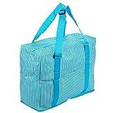 SORASION トラベル バッグ ストライプ 大容量 折りたたみ コンパクト スーツケース 取り付け 可能 全4色 防水加工 専用パッケージ セット (スカイブルー)