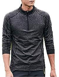 [ココチエ] Tシャツ 速乾 アンダーウェア メンズ 長袖 吸水 ジッパー ストレッチ 無地 ランニング 登山 アウトドア 自転車