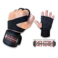 """unitedushop Nopain NoGain Weight Lifting 12""""手首ラップで手袋のサポートジムワークアウト、クロスフィット、ウェイトリフティング、フィットネス、クロストレーニング、サイクリング–The Best forメンズ&レディース L ブラック"""