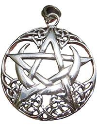 925シルバーStarケルトノットStar Moon PeganウィッカPentacle Pentagramマジック魔女Goth Gothicペンダントネックレス