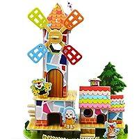 HuaQingPiJu-JP 創造的な教育3Dパズルアーリーラーニングシェイプカラー動物玩具子供のための素晴らしいギフト(風車)