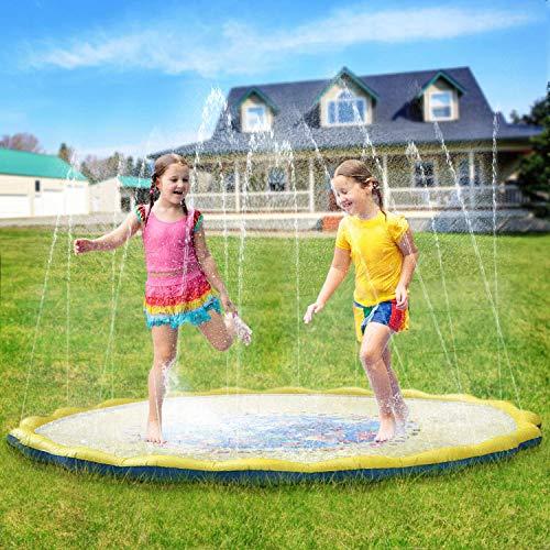 YBB 噴水マット プレイマット 噴水おもちゃ プール噴水 プールマット 子供 キッズ 水遊び 夏 家庭用 芝生遊び シャワーおもちゃ ビーチマット プレゼント アウトドア 170cm