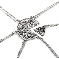 Antique Silver Color Pizza Slice Couple Friendship Pizza Scalloped Six-Piece Stitching Pendant Necklace