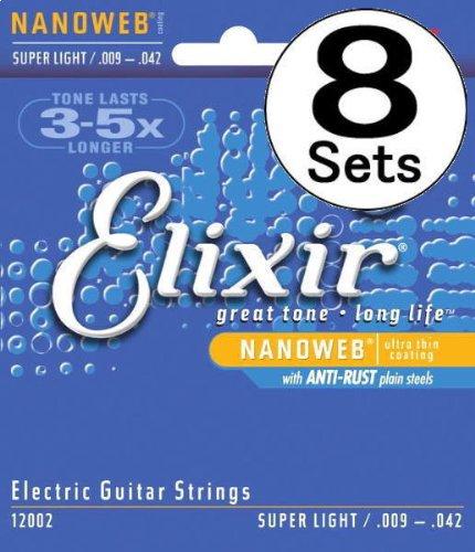 Elixir Nanoweb Electric SuperLight (09-42)×8セット ANTI-RUST エレキギター弦