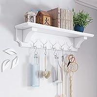 リビングルームウォールコートラック木製クリエイティブ棚壁掛けハンガーベッドルームウォールハンガー、80 * 20 * 15.5cm、ブルー/ホワイト, white