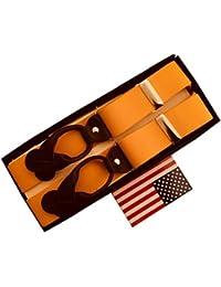 サスペンダー メンズ 紳士 Y型 Yバック USA製 Brace ブレイシーズ ボタン止め Elastic/WD Gold SL/BR B475