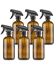 THETIS Homes トリガースプレーキャップを持つ16オンス空 琥珀ボストンスプレーボトルや製品部屋 やアロマセラピーを清掃エッセンシャルオイル 用 ガラスびん ラベル 6パック