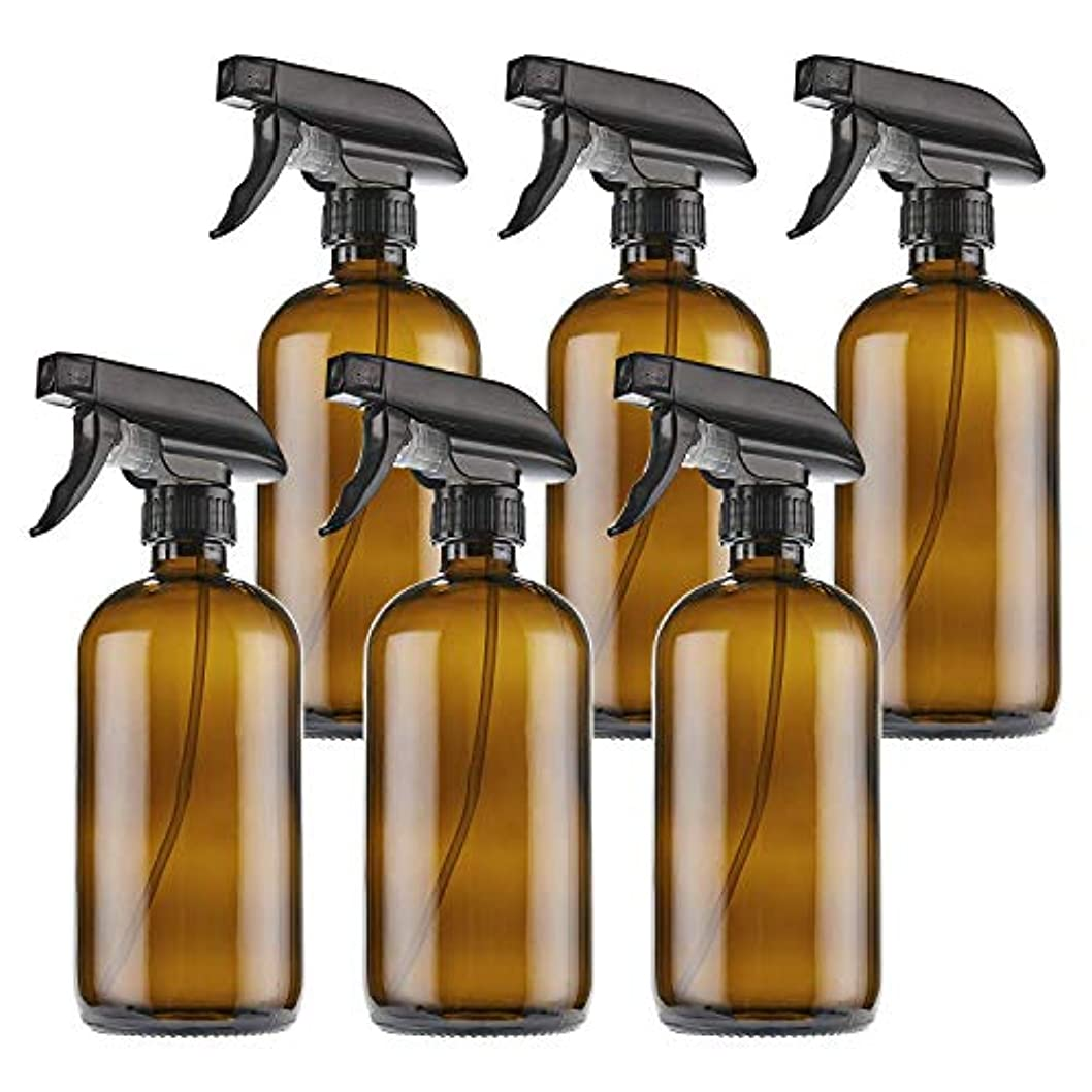 虹口実教THETIS Homes トリガースプレーキャップを持つ16オンス空 琥珀ボストンスプレーボトルや製品部屋 やアロマセラピーを清掃エッセンシャルオイル 用 ガラスびん ラベル 6パック