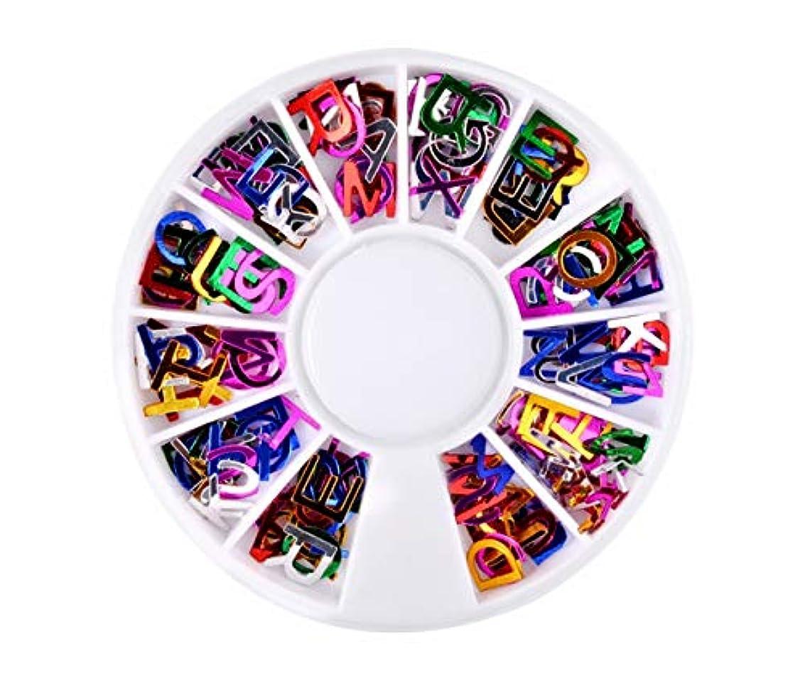 分配します買い物に行く排泄物Madalena ネイルアートステッカーの混合色のアルファベットグリッタースライスネイルアートDIYデコレーション
