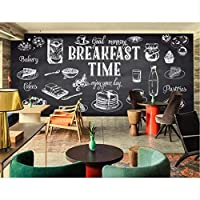 Xbwy 写真の壁紙手描きの白黒壁画食品レストランキッチン壁紙カフェカスタム壁画装飾画-200X140Cm