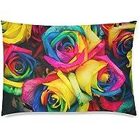 可愛い 子供 カラフルな薔薇の花 座布団 50cm×72cm