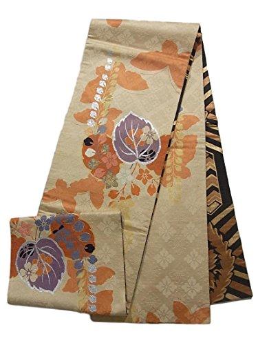 アンティーク 昼夜帯 桐の花模様に蝶のシルエット 正絹