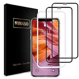 【2枚セット】Nimaso iPhoneXS Max 用 全面保護フィルム液晶強化ガラス 【ガイド枠付き】日本製素材旭硝子製 3DTouch対応/硬度9H/高透過率(iPhone XS Max)