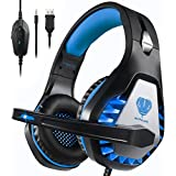 Pacrate Stereo Gaming Headset for PS4, Xbox One, PC with Noise Cancelling Mic - Surround Sound Gaming Headphones - Soft Memory Over Ear PS4 Headset with LED Light for Mac, Laptop (Black Blue)