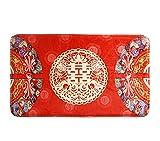 【Woliwowa】個性的 双喜 デザイン 真っ赤な 中国的 玄関マット [並行輸入品]