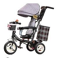 6ヶ月から6歳の子供のトライク(ソリッドタイヤ付き)4in1とパラソルシート付き少女三輪車が回転可能 (色 : Gray)
